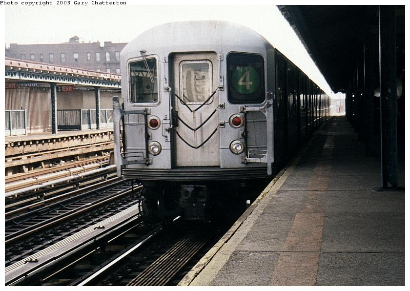 (97k, 840x596)<br><b>Country:</b> United States<br><b>City:</b> New York<br><b>System:</b> New York City Transit<br><b>Line:</b> IRT Woodlawn Line<br><b>Location:</b> 170th Street <br><b>Route:</b> 4<br><b>Car:</b> R-62 (Kawasaki, 1983-1985)  1610 <br><b>Photo by:</b> Gary Chatterton<br><b>Date:</b> 4/2/2003<br><b>Viewed (this week/total):</b> 1 / 3979