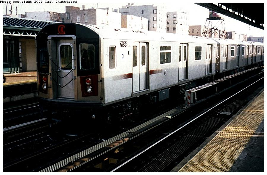 (101k, 900x591)<br><b>Country:</b> United States<br><b>City:</b> New York<br><b>System:</b> New York City Transit<br><b>Line:</b> IRT Woodlawn Line<br><b>Location:</b> 161st Street/River Avenue (Yankee Stadium) <br><b>Route:</b> 4<br><b>Car:</b> R-142 (Option Order, Bombardier, 2002-2003)  7136 <br><b>Photo by:</b> Gary Chatterton<br><b>Date:</b> 4/2/2003<br><b>Viewed (this week/total):</b> 1 / 4404