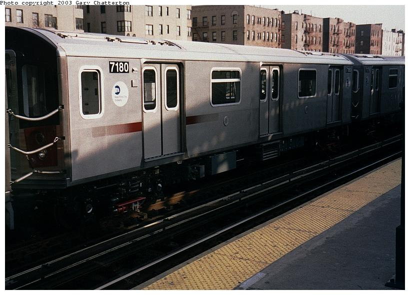 (81k, 820x591)<br><b>Country:</b> United States<br><b>City:</b> New York<br><b>System:</b> New York City Transit<br><b>Line:</b> IRT Woodlawn Line<br><b>Location:</b> 161st Street/River Avenue (Yankee Stadium) <br><b>Route:</b> 4<br><b>Car:</b> R-142 (Option Order, Bombardier, 2002-2003)  7180 <br><b>Photo by:</b> Gary Chatterton<br><b>Date:</b> 4/2/2003<br><b>Viewed (this week/total):</b> 3 / 4620