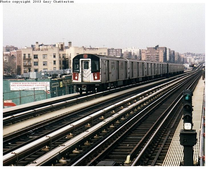 (95k, 730x591)<br><b>Country:</b> United States<br><b>City:</b> New York<br><b>System:</b> New York City Transit<br><b>Line:</b> IRT Woodlawn Line<br><b>Location:</b> 170th Street <br><b>Route:</b> 4<br><b>Car:</b> R-142A (Option Order, Kawasaki, 2002-2003)  7685 <br><b>Photo by:</b> Gary Chatterton<br><b>Date:</b> 4/2/2003<br><b>Viewed (this week/total):</b> 0 / 4464