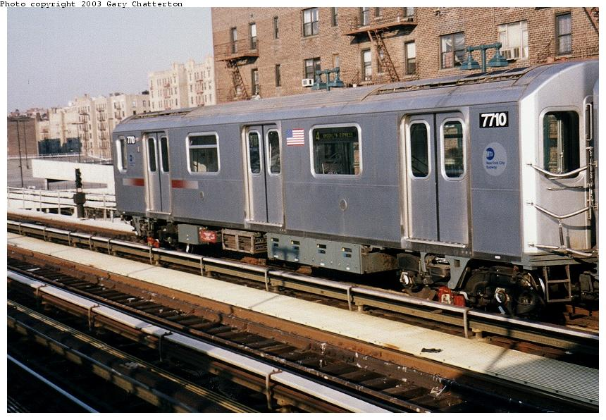 (109k, 860x596)<br><b>Country:</b> United States<br><b>City:</b> New York<br><b>System:</b> New York City Transit<br><b>Line:</b> IRT Woodlawn Line<br><b>Location:</b> 161st Street/River Avenue (Yankee Stadium) <br><b>Route:</b> 4<br><b>Car:</b> R-142A (Option Order, Kawasaki, 2002-2003)  7710 <br><b>Photo by:</b> Gary Chatterton<br><b>Date:</b> 4/2/2003<br><b>Viewed (this week/total):</b> 0 / 4003