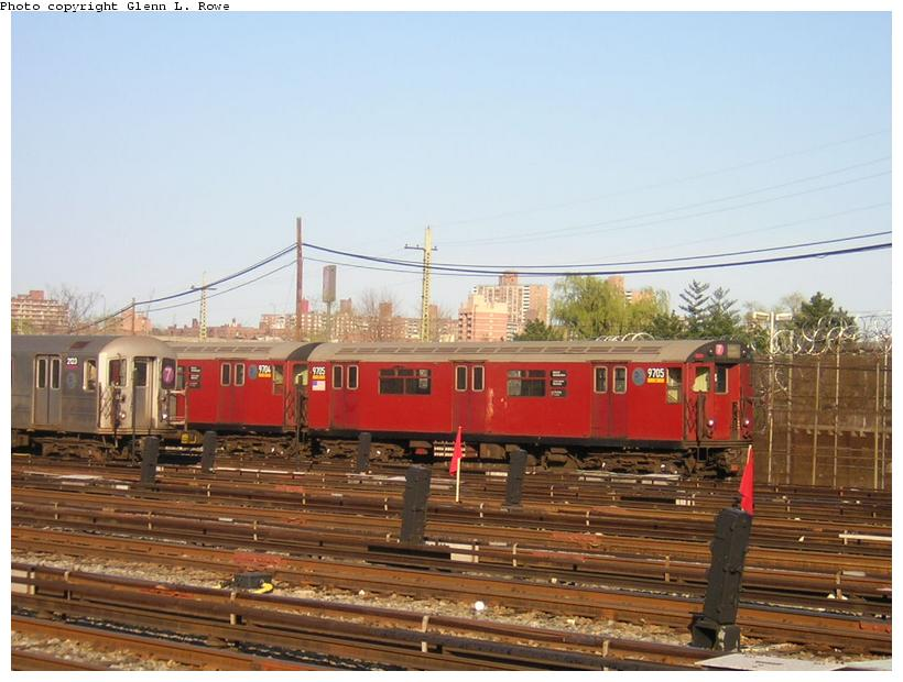 (109k, 820x620)<br><b>Country:</b> United States<br><b>City:</b> New York<br><b>System:</b> New York City Transit<br><b>Location:</b> Corona Yard<br><b>Car:</b> R-36 World's Fair (St. Louis, 1963-64) 9705 <br><b>Photo by:</b> Glenn L. Rowe<br><b>Date:</b> 4/19/2003<br><b>Viewed (this week/total):</b> 2 / 3627