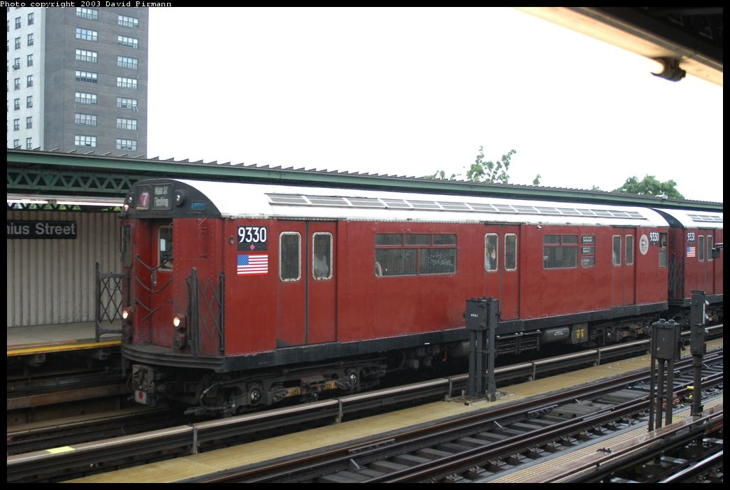(161k, 1044x701)<br><b>Country:</b> United States<br><b>City:</b> New York<br><b>System:</b> New York City Transit<br><b>Line:</b> IRT Brooklyn Line<br><b>Location:</b> Junius Street <br><b>Route:</b> Fan Trip<br><b>Car:</b> R-33 World's Fair (St. Louis, 1963-64) 9330 <br><b>Photo by:</b> David Pirmann<br><b>Date:</b> 6/7/2003<br><b>Viewed (this week/total):</b> 6 / 5145