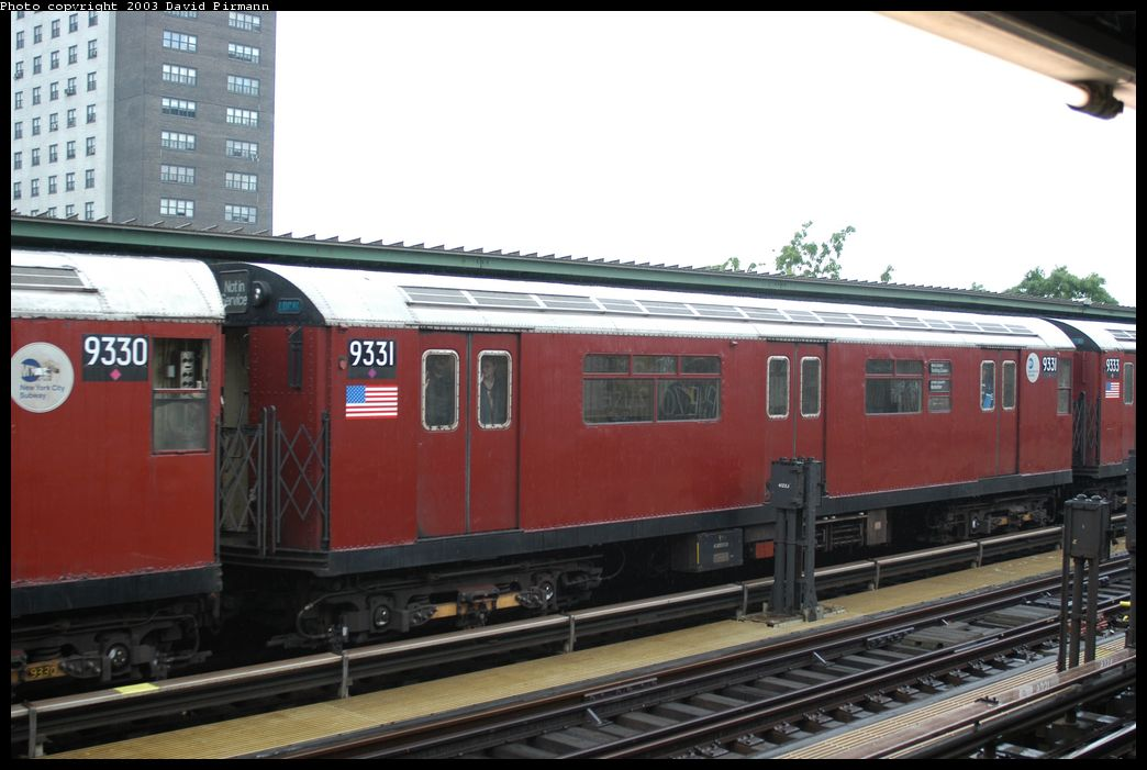 (162k, 1044x701)<br><b>Country:</b> United States<br><b>City:</b> New York<br><b>System:</b> New York City Transit<br><b>Line:</b> IRT Brooklyn Line<br><b>Location:</b> Junius Street <br><b>Route:</b> Fan Trip<br><b>Car:</b> R-33 World's Fair (St. Louis, 1963-64) 9331 <br><b>Photo by:</b> David Pirmann<br><b>Date:</b> 6/7/2003<br><b>Viewed (this week/total):</b> 0 / 3635