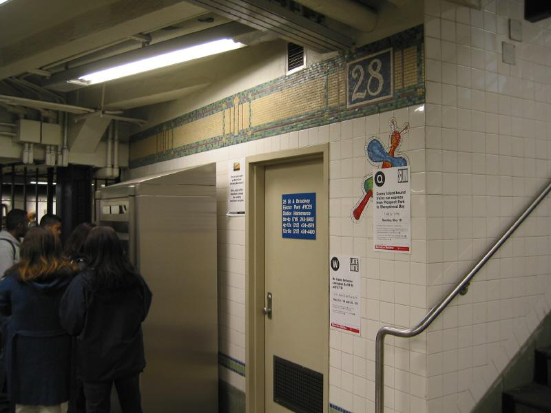 (54k, 800x600)<br><b>Country:</b> United States<br><b>City:</b> New York<br><b>System:</b> New York City Transit<br><b>Line:</b> BMT Broadway Line<br><b>Location:</b> 28th Street <br><b>Photo by:</b> Warren Sze<br><b>Date:</b> 5/31/2003<br><b>Artwork:</b> <i>City Dwellers</i>, Mark Hadjipateras (2002).<br><b>Viewed (this week/total):</b> 1 / 2401
