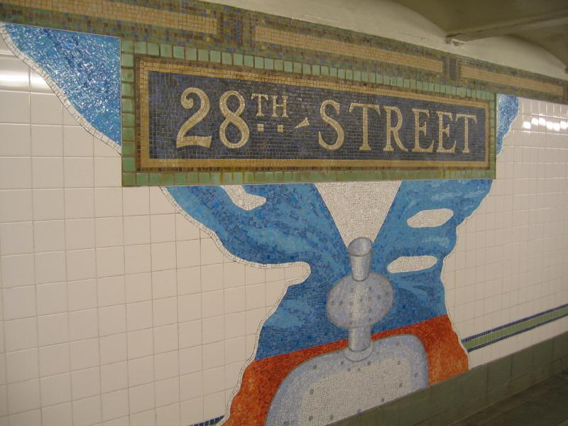 (66k, 800x600)<br><b>Country:</b> United States<br><b>City:</b> New York<br><b>System:</b> New York City Transit<br><b>Line:</b> BMT Broadway Line<br><b>Location:</b> 28th Street <br><b>Photo by:</b> Warren Sze<br><b>Date:</b> 5/31/2003<br><b>Artwork:</b> <i>City Dwellers</i>, Mark Hadjipateras (2002).<br><b>Viewed (this week/total):</b> 3 / 2057
