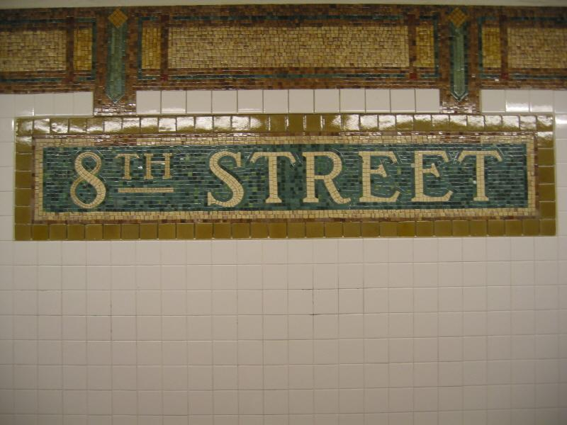 (63k, 800x600)<br><b>Country:</b> United States<br><b>City:</b> New York<br><b>System:</b> New York City Transit<br><b>Line:</b> BMT Broadway Line<br><b>Location:</b> 8th Street <br><b>Photo by:</b> Warren Sze<br><b>Date:</b> 6/13/2003<br><b>Viewed (this week/total):</b> 1 / 2340