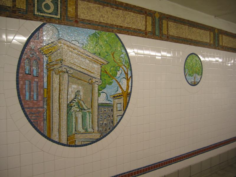 (67k, 800x600)<br><b>Country:</b> United States<br><b>City:</b> New York<br><b>System:</b> New York City Transit<br><b>Line:</b> BMT Broadway Line<br><b>Location:</b> 8th Street <br><b>Photo by:</b> Warren Sze<br><b>Date:</b> 6/13/2003<br><b>Artwork:</b> <i>Broadway Diary</i>, Tim Snell (2002).<br><b>Viewed (this week/total):</b> 5 / 1956
