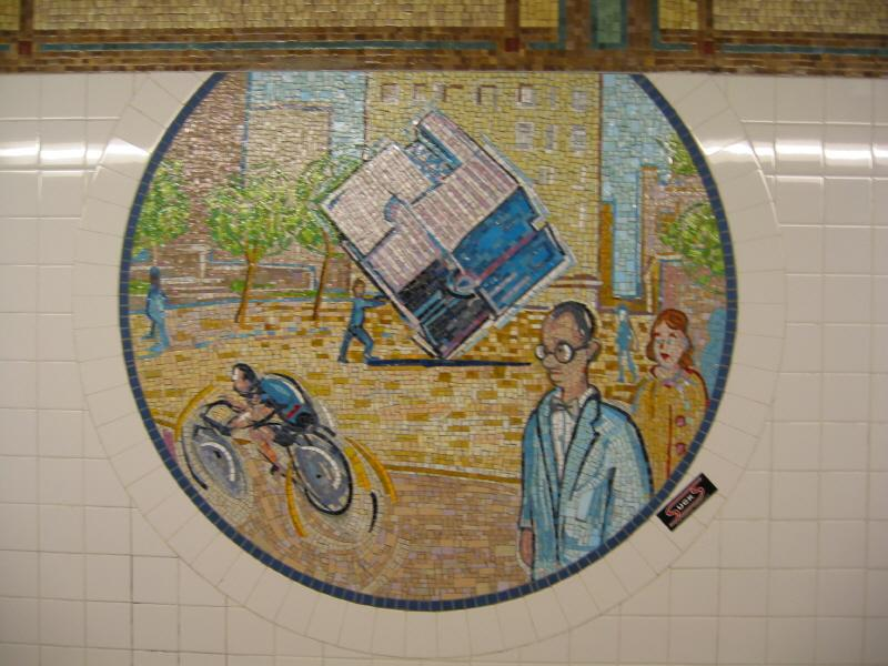 (72k, 800x600)<br><b>Country:</b> United States<br><b>City:</b> New York<br><b>System:</b> New York City Transit<br><b>Line:</b> BMT Broadway Line<br><b>Location:</b> 8th Street <br><b>Photo by:</b> Warren Sze<br><b>Date:</b> 6/13/2003<br><b>Artwork:</b> <i>Broadway Diary</i>, Tim Snell (2002).<br><b>Viewed (this week/total):</b> 1 / 1491