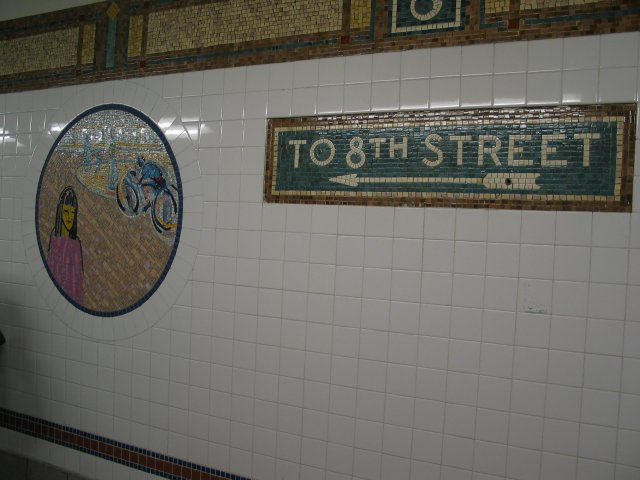 (51k, 640x480)<br><b>Country:</b> United States<br><b>City:</b> New York<br><b>System:</b> New York City Transit<br><b>Line:</b> BMT Broadway Line<br><b>Location:</b> 8th Street <br><b>Photo by:</b> Anthony Thomasel<br><b>Date:</b> 5/21/2003<br><b>Artwork:</b> <i>Broadway Diary</i>, Tim Snell (2002).<br><b>Viewed (this week/total):</b> 2 / 1159