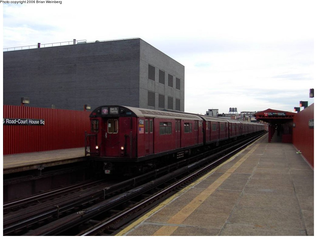 (118k, 1044x788)<br><b>Country:</b> United States<br><b>City:</b> New York<br><b>System:</b> New York City Transit<br><b>Line:</b> IRT Flushing Line<br><b>Location:</b> Court House Square/45th Road <br><b>Car:</b> R-36 World's Fair (St. Louis, 1963-64) 9768 <br><b>Photo by:</b> Brian Weinberg<br><b>Date:</b> 6/17/2003<br><b>Viewed (this week/total):</b> 0 / 1728