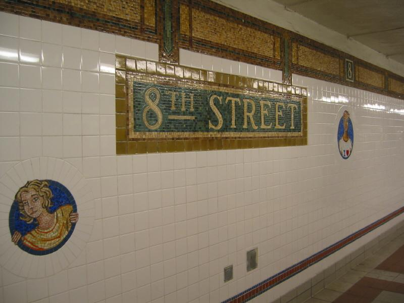 (56k, 800x600)<br><b>Country:</b> United States<br><b>City:</b> New York<br><b>System:</b> New York City Transit<br><b>Line:</b> BMT Broadway Line<br><b>Location:</b> 8th Street <br><b>Photo by:</b> Warren Sze<br><b>Date:</b> 6/13/2003<br><b>Artwork:</b> <i>Broadway Diary</i>, Tim Snell (2002).<br><b>Viewed (this week/total):</b> 0 / 2123