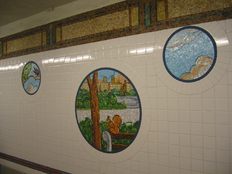 (60k, 800x600)<br><b>Country:</b> United States<br><b>City:</b> New York<br><b>System:</b> New York City Transit<br><b>Line:</b> BMT Broadway Line<br><b>Location:</b> 8th Street <br><b>Photo by:</b> Warren Sze<br><b>Date:</b> 6/13/2003<br><b>Artwork:</b> <i>Broadway Diary</i>, Tim Snell (2002).<br><b>Viewed (this week/total):</b> 0 / 1919