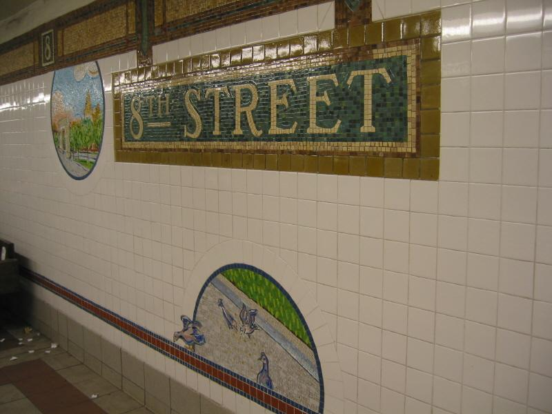 (60k, 800x600)<br><b>Country:</b> United States<br><b>City:</b> New York<br><b>System:</b> New York City Transit<br><b>Line:</b> BMT Broadway Line<br><b>Location:</b> 8th Street <br><b>Photo by:</b> Warren Sze<br><b>Date:</b> 6/13/2003<br><b>Artwork:</b> <i>Broadway Diary</i>, Tim Snell (2002).<br><b>Viewed (this week/total):</b> 0 / 2073