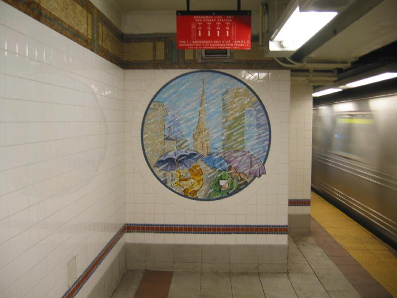 (49k, 800x600)<br><b>Country:</b> United States<br><b>City:</b> New York<br><b>System:</b> New York City Transit<br><b>Line:</b> BMT Broadway Line<br><b>Location:</b> 8th Street <br><b>Photo by:</b> Warren Sze<br><b>Date:</b> 6/13/2003<br><b>Artwork:</b> <i>Broadway Diary</i>, Tim Snell (2002).<br><b>Viewed (this week/total):</b> 0 / 2107