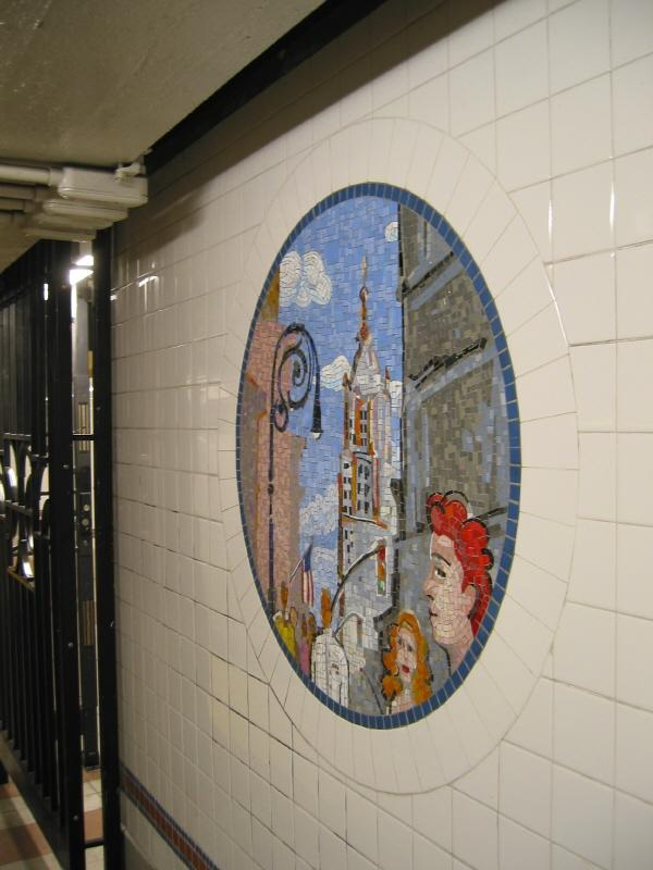(57k, 600x800)<br><b>Country:</b> United States<br><b>City:</b> New York<br><b>System:</b> New York City Transit<br><b>Line:</b> BMT Broadway Line<br><b>Location:</b> 8th Street <br><b>Photo by:</b> Warren Sze<br><b>Date:</b> 6/13/2003<br><b>Artwork:</b> <i>Broadway Diary</i>, Tim Snell (2002).<br><b>Viewed (this week/total):</b> 0 / 1508