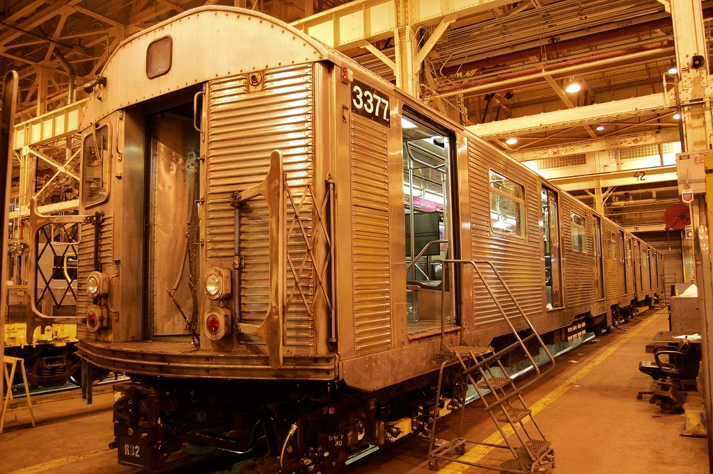 (423k, 1024x681)<br><b>Country:</b> United States<br><b>City:</b> New York<br><b>System:</b> New York City Transit<br><b>Location:</b> Coney Island Shop/Overhaul & Repair Shop<br><b>Car:</b> R-32 (Budd, 1964)  3377 <br><b>Photo by:</b> John Dooley<br><b>Date:</b> 2/21/2012<br><b>Viewed (this week/total):</b> 1 / 187