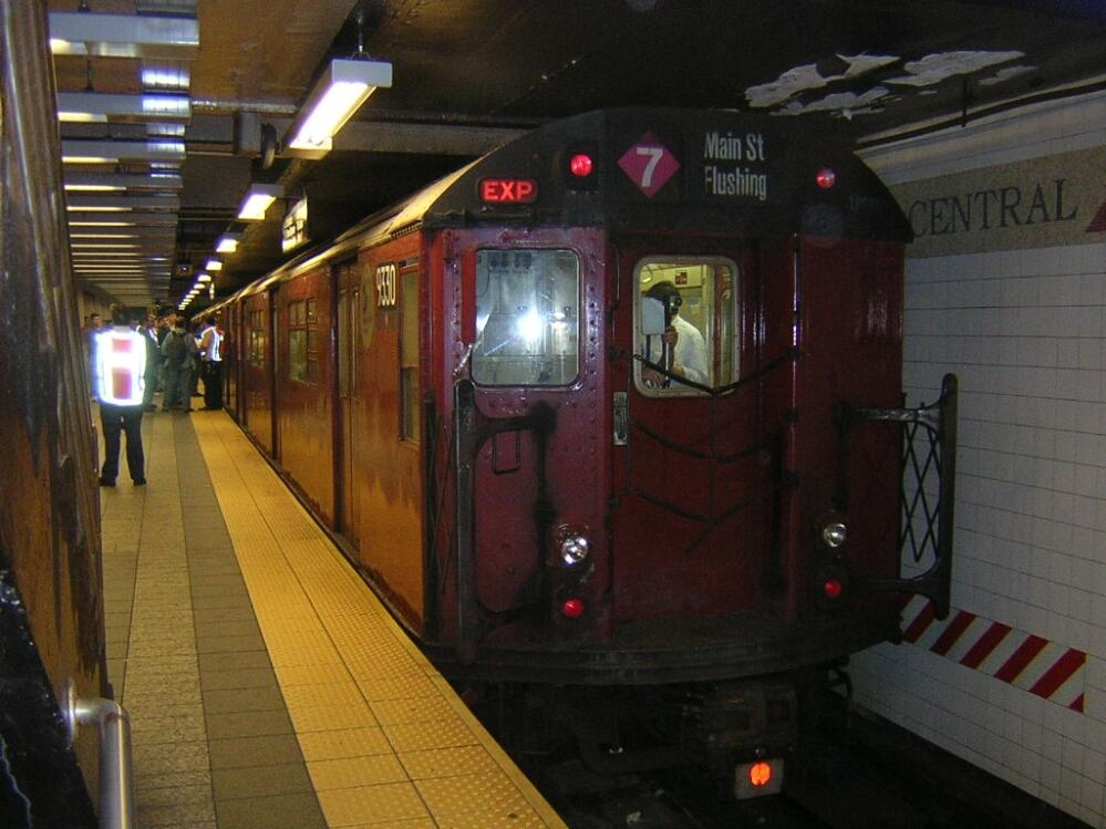 (126k, 999x749)<br><b>Country:</b> United States<br><b>City:</b> New York<br><b>System:</b> New York City Transit<br><b>Line:</b> IRT Times Square-Grand Central Shuttle<br><b>Location:</b> Grand Central <br><b>Route:</b> Fan Trip<br><b>Car:</b> R-33 World's Fair (St. Louis, 1963-64) 9330 <br><b>Photo by:</b> Glenn L. Rowe<br><b>Date:</b> 6/7/2003<br><b>Viewed (this week/total):</b> 0 / 4493
