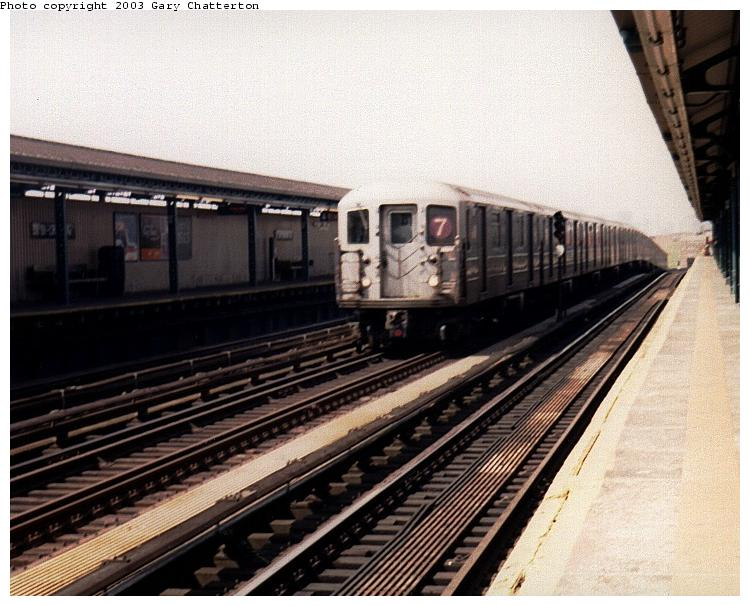(77k, 750x606)<br><b>Country:</b> United States<br><b>City:</b> New York<br><b>System:</b> New York City Transit<br><b>Line:</b> IRT Flushing Line<br><b>Location:</b> 52nd Street/Lincoln Avenue <br><b>Route:</b> 7<br><b>Car:</b> R-62A (Bombardier, 1984-1987)  1691 <br><b>Photo by:</b> Gary Chatterton<br><b>Date:</b> 5/2003<br><b>Viewed (this week/total):</b> 2 / 2438