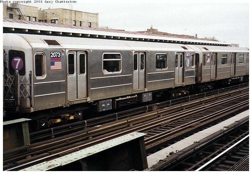 (105k, 855x591)<br><b>Country:</b> United States<br><b>City:</b> New York<br><b>System:</b> New York City Transit<br><b>Line:</b> IRT Flushing Line<br><b>Location:</b> 82nd Street/Jackson Heights <br><b>Route:</b> 7<br><b>Car:</b> R-62A (Bombardier, 1984-1987)  2073 <br><b>Photo by:</b> Gary Chatterton<br><b>Date:</b> 5/16/2003<br><b>Viewed (this week/total):</b> 1 / 2717