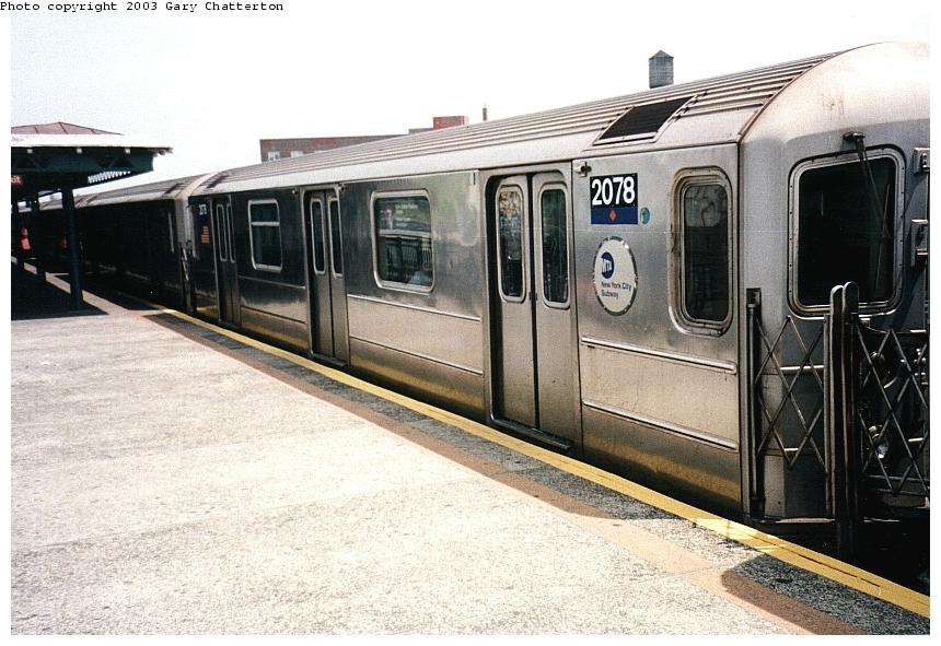 (92k, 860x591)<br><b>Country:</b> United States<br><b>City:</b> New York<br><b>System:</b> New York City Transit<br><b>Line:</b> IRT Flushing Line<br><b>Location:</b> 82nd Street/Jackson Heights <br><b>Route:</b> 7<br><b>Car:</b> R-62A (Bombardier, 1984-1987)  2078 <br><b>Photo by:</b> Gary Chatterton<br><b>Date:</b> 5/16/2003<br><b>Viewed (this week/total):</b> 0 / 2668