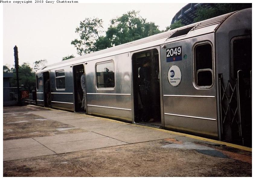 (87k, 845x596)<br><b>Country:</b> United States<br><b>City:</b> New York<br><b>System:</b> New York City Transit<br><b>Line:</b> IRT Flushing Line<br><b>Location:</b> Willets Point/Mets (fmr. Shea Stadium) <br><b>Route:</b> 7<br><b>Car:</b> R-62A (Bombardier, 1984-1987)  2049 <br><b>Photo by:</b> Gary Chatterton<br><b>Date:</b> 6/2/2003<br><b>Viewed (this week/total):</b> 2 / 2926