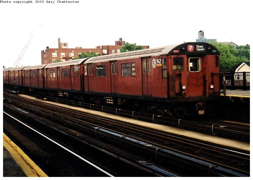 (73k, 830x591)<br><b>Country:</b> United States<br><b>City:</b> New York<br><b>System:</b> New York City Transit<br><b>Line:</b> IRT Flushing Line<br><b>Location:</b> 69th Street/Fisk Avenue <br><b>Route:</b> 7<br><b>Car:</b> R-36 World's Fair (St. Louis, 1963-64) 9621 <br><b>Photo by:</b> Gary Chatterton<br><b>Date:</b> 6/4/2003<br><b>Viewed (this week/total):</b> 0 / 2647