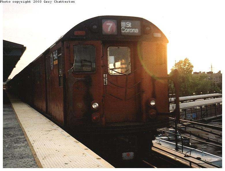 (61k, 780x591)<br><b>Country:</b> United States<br><b>City:</b> New York<br><b>System:</b> New York City Transit<br><b>Line:</b> IRT Flushing Line<br><b>Location:</b> 61st Street/Woodside <br><b>Route:</b> 7<br><b>Car:</b> R-36 World's Fair (St. Louis, 1963-64) 9648 <br><b>Photo by:</b> Gary Chatterton<br><b>Date:</b> 6/4/2003<br><b>Viewed (this week/total):</b> 0 / 3135