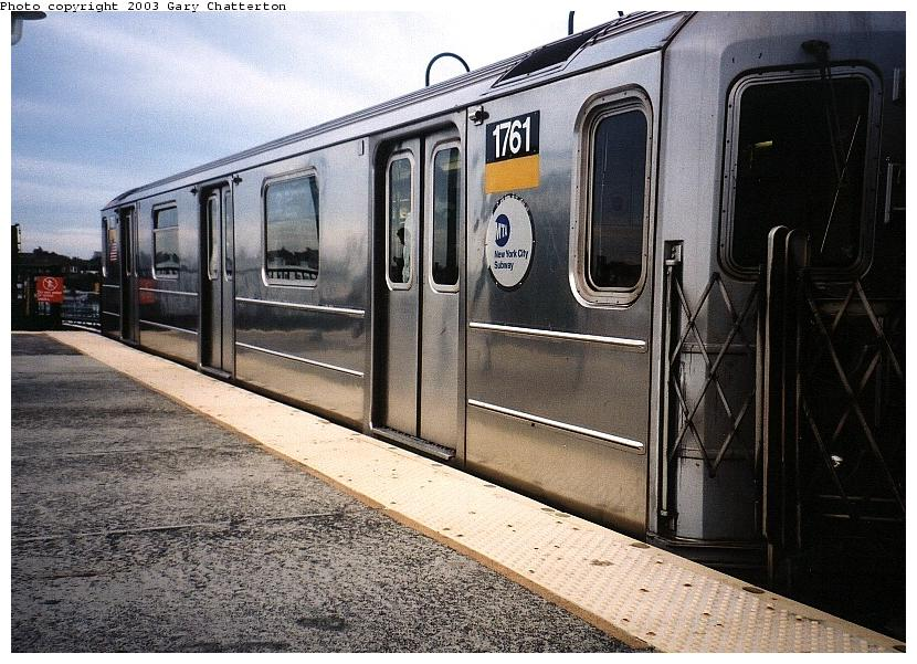 (104k, 830x601)<br><b>Country:</b> United States<br><b>City:</b> New York<br><b>System:</b> New York City Transit<br><b>Line:</b> IRT Flushing Line<br><b>Location:</b> 61st Street/Woodside <br><b>Route:</b> 7<br><b>Car:</b> R-62A (Bombardier, 1984-1987)  1761 <br><b>Photo by:</b> Gary Chatterton<br><b>Date:</b> 6/18/2003<br><b>Viewed (this week/total):</b> 4 / 2977