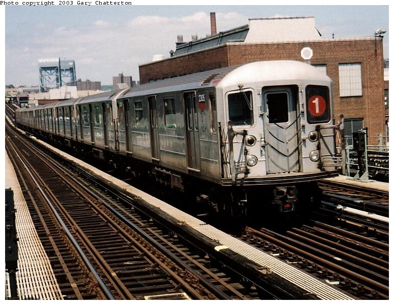 (107k, 775x601)<br><b>Country:</b> United States<br><b>City:</b> New York<br><b>System:</b> New York City Transit<br><b>Line:</b> IRT West Side Line<br><b>Location:</b> 207th Street <br><b>Route:</b> 1<br><b>Car:</b> R-62A (Bombardier, 1984-1987)  2305 <br><b>Photo by:</b> Gary Chatterton<br><b>Date:</b> 6/6/2003<br><b>Viewed (this week/total):</b> 12 / 3467