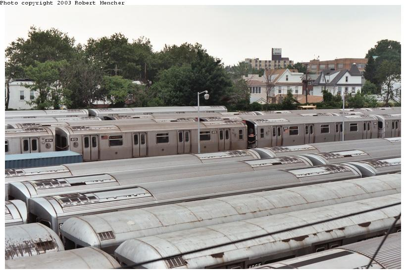 (109k, 820x553)<br><b>Country:</b> United States<br><b>City:</b> New York<br><b>System:</b> New York City Transit<br><b>Location:</b> Rockaway Parkway (Canarsie) Yard<br><b>Car:</b> R-143 (Kawasaki, 2001-2002) 8113 <br><b>Photo by:</b> Robert Mencher<br><b>Date:</b> 6/2003<br><b>Viewed (this week/total):</b> 2 / 6640