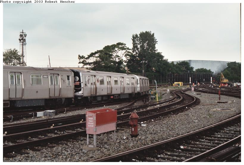 (97k, 820x553)<br><b>Country:</b> United States<br><b>City:</b> New York<br><b>System:</b> New York City Transit<br><b>Location:</b> Rockaway Parkway (Canarsie) Yard<br><b>Car:</b> R-143 (Kawasaki, 2001-2002) 8145 <br><b>Photo by:</b> Robert Mencher<br><b>Date:</b> 6/2003<br><b>Viewed (this week/total):</b> 2 / 4771