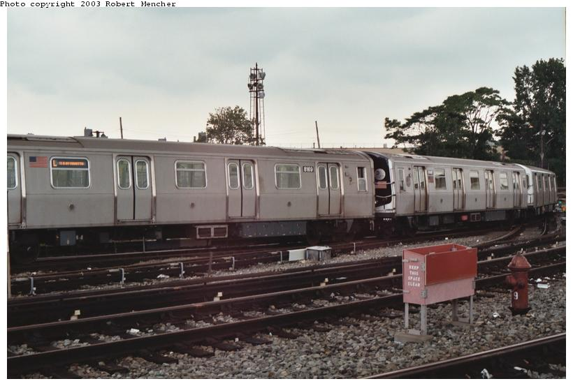 (86k, 820x553)<br><b>Country:</b> United States<br><b>City:</b> New York<br><b>System:</b> New York City Transit<br><b>Location:</b> Rockaway Parkway (Canarsie) Yard<br><b>Car:</b> R-143 (Kawasaki, 2001-2002) 8169 <br><b>Photo by:</b> Robert Mencher<br><b>Date:</b> 6/2003<br><b>Viewed (this week/total):</b> 0 / 4465