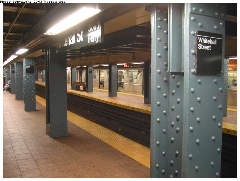 (65k, 820x620)<br><b>Country:</b> United States<br><b>City:</b> New York<br><b>System:</b> New York City Transit<br><b>Line:</b> BMT Broadway Line<br><b>Location:</b> Whitehall Street <br><b>Photo by:</b> Warren Sze<br><b>Date:</b> 7/3/2003<br><b>Notes:</b> Southbound platform<br><b>Viewed (this week/total):</b> 2 / 4274