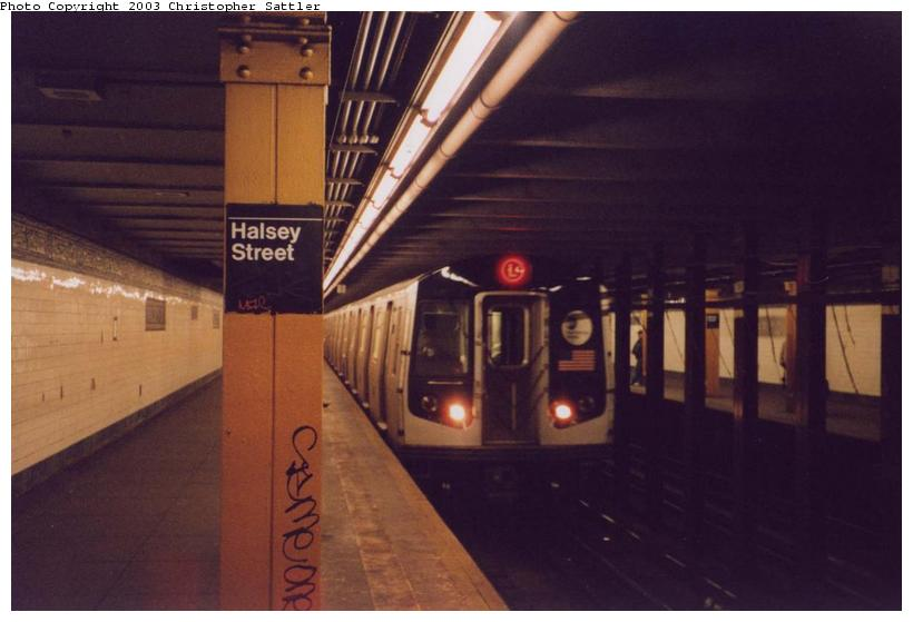 (51k, 820x559)<br><b>Country:</b> United States<br><b>City:</b> New York<br><b>System:</b> New York City Transit<br><b>Line:</b> BMT Canarsie Line<br><b>Location:</b> Halsey Street <br><b>Route:</b> L<br><b>Car:</b> R-143 (Kawasaki, 2001-2002)  <br><b>Photo by:</b> Christopher Sattler<br><b>Date:</b> 4/1/2002<br><b>Viewed (this week/total):</b> 1 / 7954
