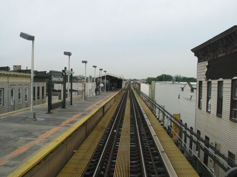 (94k, 800x600)<br><b>Country:</b> United States<br><b>City:</b> New York<br><b>System:</b> New York City Transit<br><b>Line:</b> BMT Nassau Street/Jamaica Line<br><b>Location:</b> Cleveland Street <br><b>Photo by:</b> Robert Pastore<br><b>Date:</b> 4/27/2003<br><b>Viewed (this week/total):</b> 9 / 2624