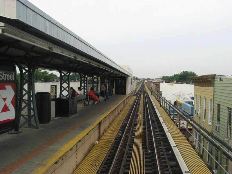 (99k, 800x600)<br><b>Country:</b> United States<br><b>City:</b> New York<br><b>System:</b> New York City Transit<br><b>Line:</b> BMT Nassau Street/Jamaica Line<br><b>Location:</b> Cleveland Street <br><b>Photo by:</b> Robert Pastore<br><b>Date:</b> 4/27/2003<br><b>Viewed (this week/total):</b> 0 / 2555