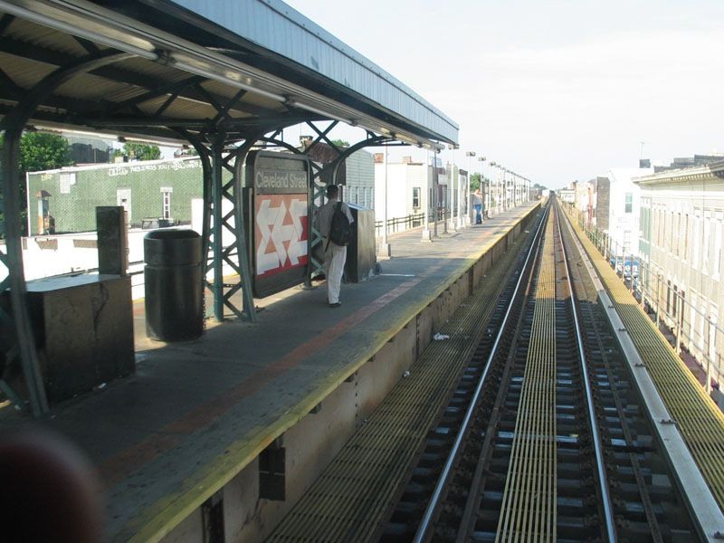 (103k, 800x600)<br><b>Country:</b> United States<br><b>City:</b> New York<br><b>System:</b> New York City Transit<br><b>Line:</b> BMT Nassau Street/Jamaica Line<br><b>Location:</b> Cleveland Street <br><b>Photo by:</b> Robert Pastore<br><b>Date:</b> 4/27/2003<br><b>Viewed (this week/total):</b> 0 / 2331