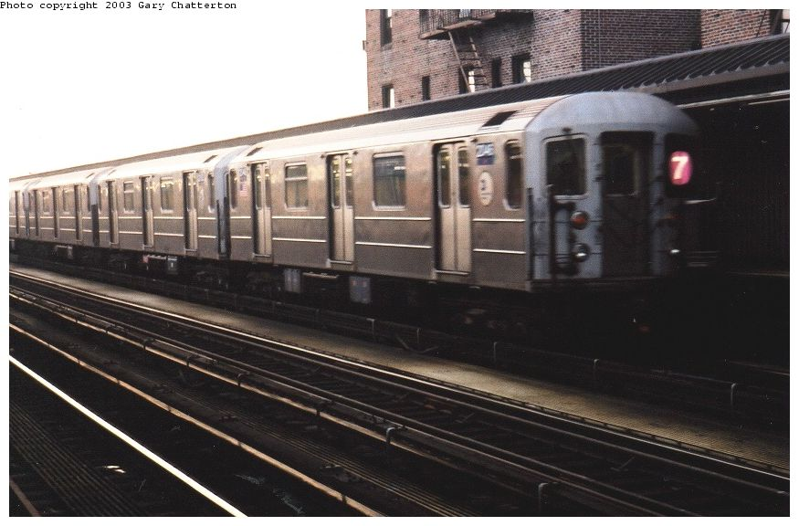 (83k, 875x576)<br><b>Country:</b> United States<br><b>City:</b> New York<br><b>System:</b> New York City Transit<br><b>Line:</b> IRT Flushing Line<br><b>Location:</b> 52nd Street/Lincoln Avenue <br><b>Route:</b> 7<br><b>Car:</b> R-62A (Bombardier, 1984-1987)  2046 <br><b>Photo by:</b> Gary Chatterton<br><b>Date:</b> 6/27/2003<br><b>Viewed (this week/total):</b> 0 / 2210