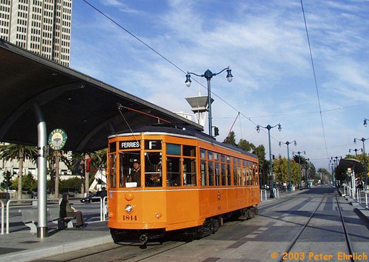 (78k, 720x511)<br><b>Country:</b> United States<br><b>City:</b> San Francisco/Bay Area, CA<br><b>System:</b> SF MUNI<br><b>Location:</b> Embarcadero/Ferry Building <br><b>Car:</b> Milan Milano/Peter Witt (1927-1930)  1814 <br><b>Photo by:</b> Peter Ehrlich<br><b>Date:</b> 10/20/2001<br><b>Viewed (this week/total):</b> 6 / 1664