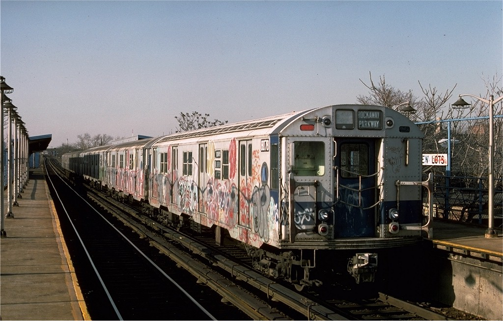 (197k, 1024x655)<br><b>Country:</b> United States<br><b>City:</b> New York<br><b>System:</b> New York City Transit<br><b>Line:</b> BMT Canarsie Line<br><b>Location:</b> New Lots Avenue <br><b>Route:</b> LL<br><b>Car:</b> R-27 (St. Louis, 1960)  8078 <br><b>Photo by:</b> Ed McKernan<br><b>Collection of:</b> Joe Testagrose<br><b>Date:</b> 3/4/1977<br><b>Viewed (this week/total):</b> 0 / 3455