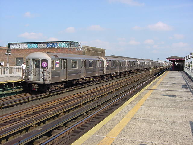 (61k, 640x480)<br><b>Country:</b> United States<br><b>City:</b> New York<br><b>System:</b> New York City Transit<br><b>Line:</b> IRT Flushing Line<br><b>Location:</b> 90th Street/Elmhurst Avenue <br><b>Route:</b> 7<br><b>Car:</b> R-62A (Bombardier, 1984-1987)  2132 <br><b>Photo by:</b> Salaam Allah<br><b>Date:</b> 9/21/2002<br><b>Viewed (this week/total):</b> 2 / 3346