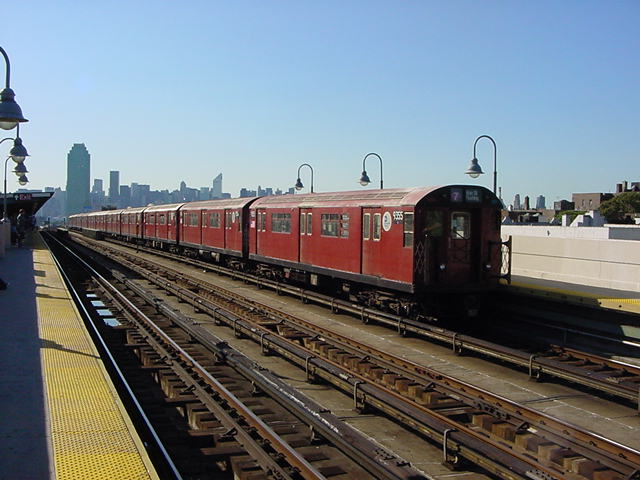 (61k, 640x480)<br><b>Country:</b> United States<br><b>City:</b> New York<br><b>System:</b> New York City Transit<br><b>Line:</b> IRT Flushing Line<br><b>Location:</b> 33rd Street/Rawson Street <br><b>Route:</b> 7<br><b>Car:</b> R-36 World's Fair (St. Louis, 1963-64) 9355 <br><b>Photo by:</b> Salaam Allah<br><b>Date:</b> 9/17/2002<br><b>Viewed (this week/total):</b> 1 / 2965