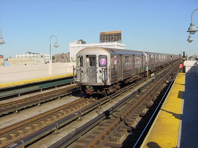 (60k, 640x480)<br><b>Country:</b> United States<br><b>City:</b> New York<br><b>System:</b> New York City Transit<br><b>Line:</b> IRT Flushing Line<br><b>Location:</b> 33rd Street/Rawson Street <br><b>Route:</b> 7<br><b>Car:</b> R-62A (Bombardier, 1984-1987)  2002 <br><b>Photo by:</b> Salaam Allah<br><b>Date:</b> 9/17/2002<br><b>Viewed (this week/total):</b> 0 / 2933
