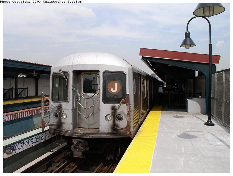 (65k, 820x618)<br><b>Country:</b> United States<br><b>City:</b> New York<br><b>System:</b> New York City Transit<br><b>Line:</b> BMT Nassau Street/Jamaica Line<br><b>Location:</b> Kosciuszko Street <br><b>Route:</b> J<br><b>Car:</b> R-42 (St. Louis, 1969-1970)   <br><b>Photo by:</b> Christopher Sattler<br><b>Date:</b> 7/31/2003<br><b>Viewed (this week/total):</b> 0 / 3728