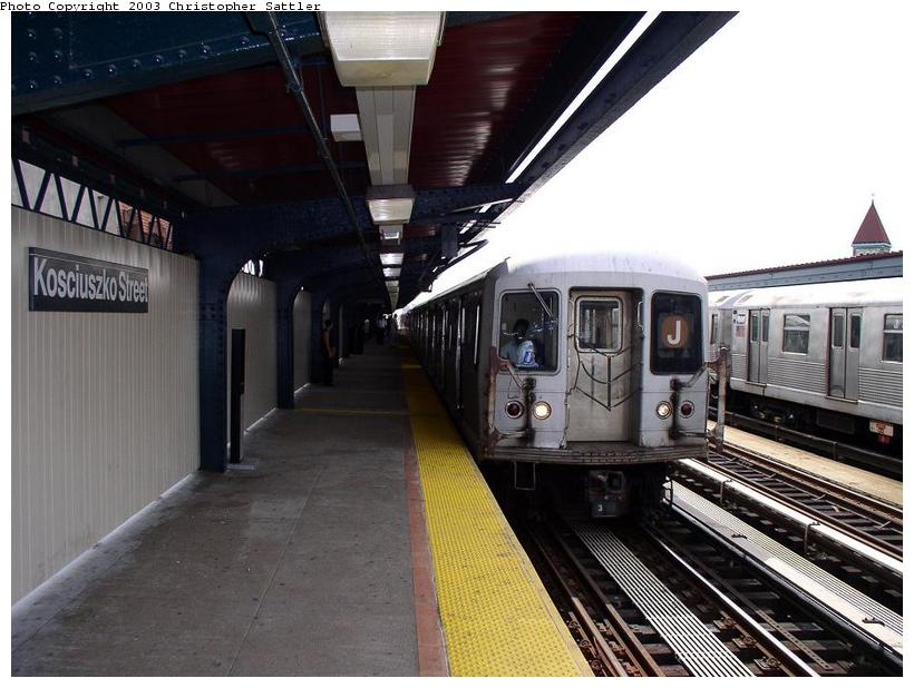 (79k, 820x618)<br><b>Country:</b> United States<br><b>City:</b> New York<br><b>System:</b> New York City Transit<br><b>Line:</b> BMT Nassau Street/Jamaica Line<br><b>Location:</b> Kosciuszko Street <br><b>Route:</b> J<br><b>Car:</b> R-42 (St. Louis, 1969-1970)   <br><b>Photo by:</b> Christopher Sattler<br><b>Date:</b> 7/31/2003<br><b>Viewed (this week/total):</b> 0 / 3781