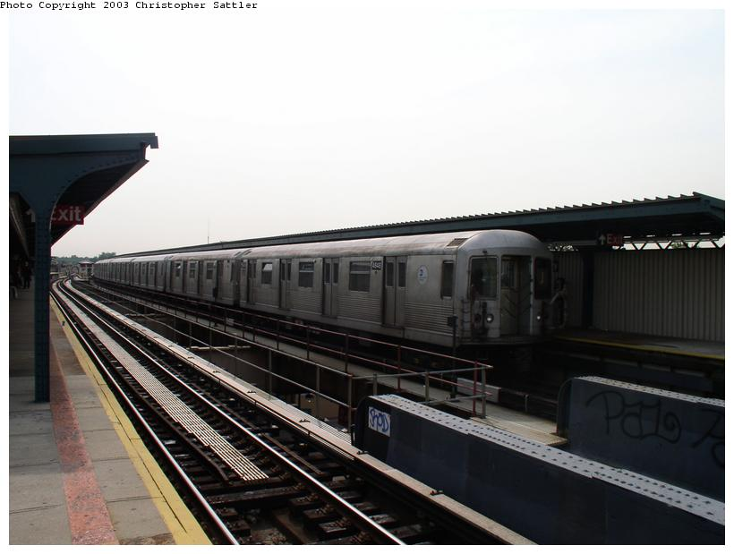 (73k, 820x619)<br><b>Country:</b> United States<br><b>City:</b> New York<br><b>System:</b> New York City Transit<br><b>Line:</b> BMT Nassau Street/Jamaica Line<br><b>Location:</b> 85th Street/Forest Parkway <br><b>Route:</b> J<br><b>Car:</b> R-42 (St. Louis, 1969-1970)  4684 <br><b>Photo by:</b> Christopher Sattler<br><b>Date:</b> 7/2/2003<br><b>Viewed (this week/total):</b> 0 / 3281