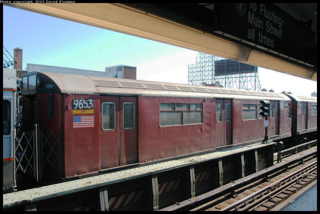 (202k, 1044x701)<br><b>Country:</b> United States<br><b>City:</b> New York<br><b>System:</b> New York City Transit<br><b>Line:</b> IRT Flushing Line<br><b>Location:</b> 33rd Street/Rawson Street <br><b>Route:</b> Fan Trip<br><b>Car:</b> R-36 World's Fair (St. Louis, 1963-64) 9653 <br><b>Photo by:</b> David Pirmann<br><b>Date:</b> 8/23/2003<br><b>Viewed (this week/total):</b> 2 / 2274