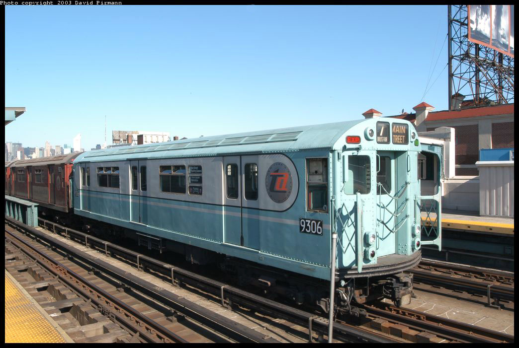 (208k, 1044x701)<br><b>Country:</b> United States<br><b>City:</b> New York<br><b>System:</b> New York City Transit<br><b>Line:</b> IRT Flushing Line<br><b>Location:</b> 33rd Street/Rawson Street <br><b>Route:</b> Fan Trip<br><b>Car:</b> R-33 World's Fair (St. Louis, 1963-64) 9306 <br><b>Photo by:</b> David Pirmann<br><b>Date:</b> 8/23/2003<br><b>Viewed (this week/total):</b> 1 / 9112