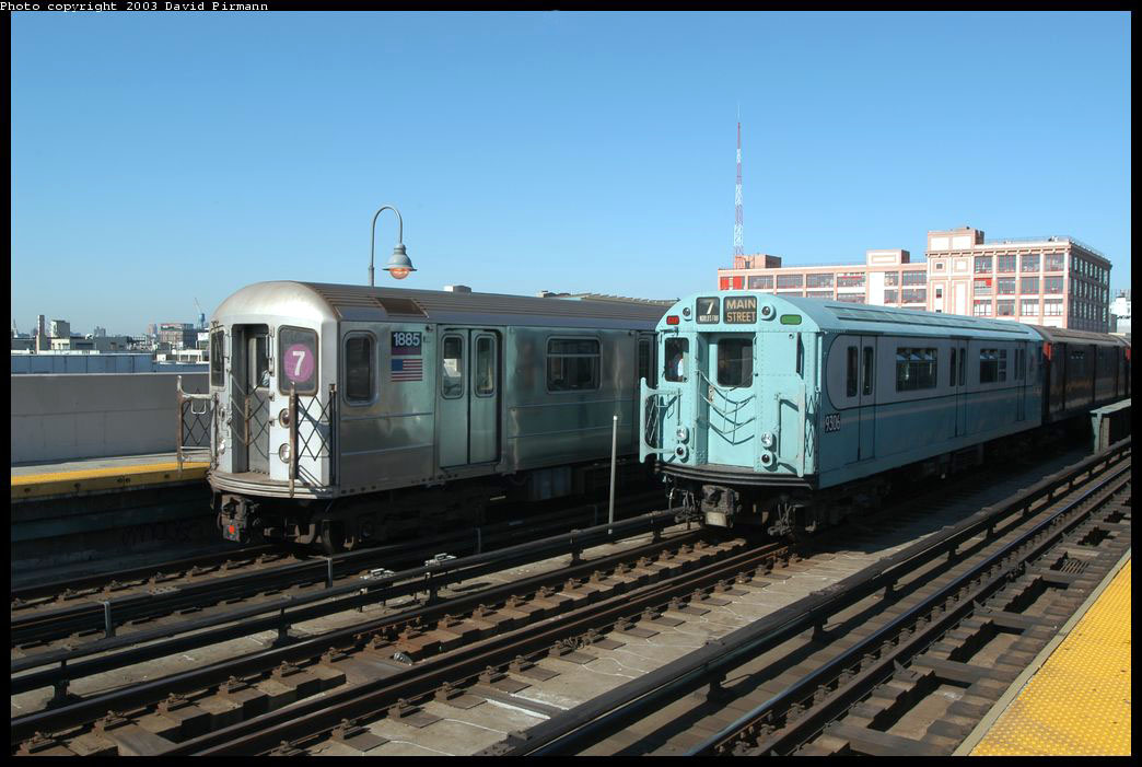 (201k, 1044x701)<br><b>Country:</b> United States<br><b>City:</b> New York<br><b>System:</b> New York City Transit<br><b>Line:</b> IRT Flushing Line<br><b>Location:</b> 33rd Street/Rawson Street <br><b>Route:</b> Fan Trip<br><b>Car:</b> R-33 World's Fair (St. Louis, 1963-64) 9306 <br><b>Photo by:</b> David Pirmann<br><b>Date:</b> 8/23/2003<br><b>Notes:</b> With R62 1885<br><b>Viewed (this week/total):</b> 3 / 2217